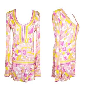 Emilio PUCCI Bell Sleeve Retro Mini Dress Pink 36